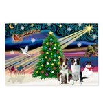 XmasMagic/2 Border Collies Postcards (Package of 8