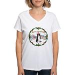 XmasMusic1MC/Border Collie Women's V-Neck T-Shirt