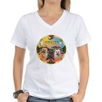 XmasMusic 3/3 Cairns Women's V-Neck T-Shirt