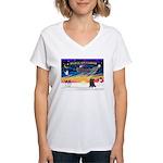XmasSunrise/Cairn Ter #21 Women's V-Neck T-Shirt