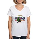 XMusic1-Cavalier (BT) Women's V-Neck T-Shirt