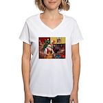 Santa's Shar Pei Women's V-Neck T-Shirt