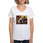 Santa's Black Cocker Women's V-Neck T-Shirt