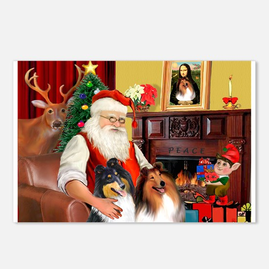 Santa's Collie pair Postcards (Package of 8)