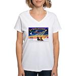 XmasSunrise/2 Dachshunds Women's V-Neck T-Shirt