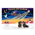 XmasSunrise/2 Dachshunds Postcards (Package of 8)