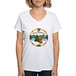 XmasMusic1MC/Dachshund #13 Women's V-Neck T-Shirt