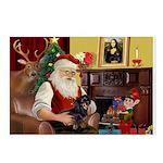 Santa's Dachshund (bt) Postcards (Package of 8)