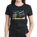 Santa/Two Dachshunds (BB-P2) Women's Dark T-Shirt