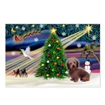 XmasMagic/Dachshund (WH) Postcards (Package of 8)