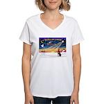 XmasSunrise/Dobie (red) Women's V-Neck T-Shirt