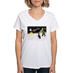 Night Flight/Dobie #1 Women's V-Neck T-Shirt
