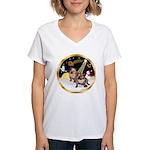 Night Flight/2 Eng Bulldogs Women's V-Neck T-Shirt