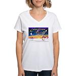 XmasSunrise/Eng Springer Women's V-Neck T-Shirt