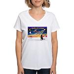 XmasSunrise/Fl Coat Retriev Women's V-Neck T-Shirt