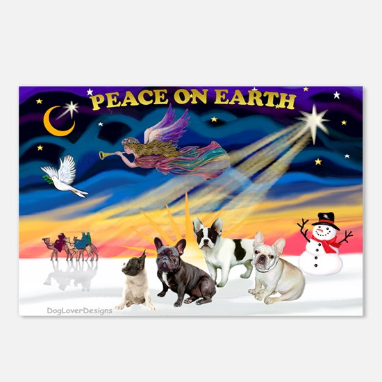 XmasSunrise/4 Fr Bulldogs Postcards (Package of 8)