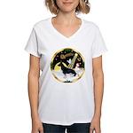 Night Flight/ German Shepherd Women's V-Neck T-Shi