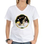 Night Flight/German Shepherd Women's V-Neck T-Shir