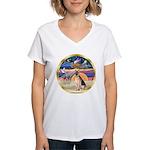 XmasStar/ German Shepherd Women's V-Neck T-Shirt