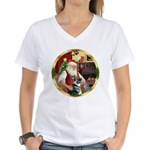 Santa's German Shepherd Women's V-Neck T-Shirt