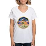 XmasStar/Golden #1 Women's V-Neck T-Shirt