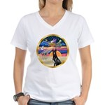 XmasStar/ Gr Dane (blk) Women's V-Neck T-Shirt