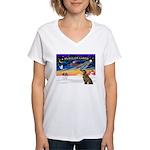 XmasSunrise/Greyhound (brin) Women's V-Neck T-Shir