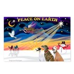 XmasSunrise/3 Greyhounds Postcards (Package of 8)