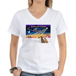 XmasSunrise/3 Greyhounds Women's V-Neck T-Shirt