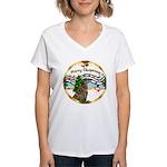 XmasMusic1MC/Greyhound Women's V-Neck T-Shirt