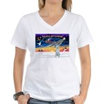 XmasSunrise/Irish Wolf Women's V-Neck T-Shirt