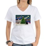 Xmas Magic & Black Lab Women's V-Neck T-Shirt
