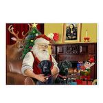 Santa's 2 Black Labs Postcards (Package of 8)