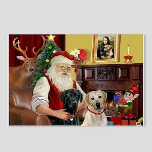 Santa's 2 Labs (Y+B) Postcards (Package of 8)