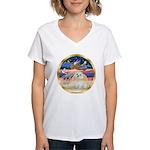 XmasStar/ Maltese # 11 Women's V-Neck T-Shirt