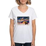 XmasStar/ Newfie Women's V-Neck T-Shirt