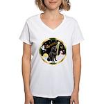 Night Flight/Newfie #2 Women's V-Neck T-Shirt