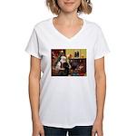 Santa's Newfie Women's V-Neck T-Shirt