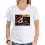 Santa's Papillon Women's V-Neck T-Shirt