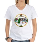XmasMusic1MCL/Papillon Women's V-Neck T-Shirt