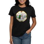 XmasMusic1MCL/Papillon Women's Dark T-Shirt
