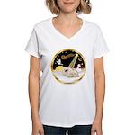Night Flight/Pekingese Women's V-Neck T-Shirt