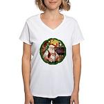Santa's Pomeranian #1 Women's V-Neck T-Shirt
