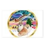 XmasMagic/2 Pomeranians Postcards (Package of 8)