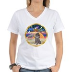 XmasStar/Silver Poodle #8 Women's V-Neck T-Shirt