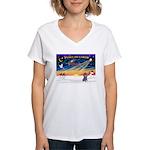 XmasSunrise/Poodle (min) Women's V-Neck T-Shirt
