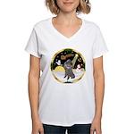 Night Flight/Silver Poodle Women's V-Neck T-Shirt
