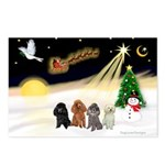 Night Flight/4 Poodles Postcards (Package of 8)