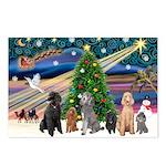 XmasMagic-6 Poodles Postcards (Package of 8)