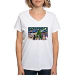 XmasMagic-6 Poodles Women's V-Neck T-Shirt
